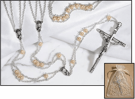 Faux Mother of Pearl Ladder Lasso Silver-Plated Rosary