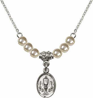 Faux Pearl Oval Chalice Charm with 6 Bead Necklace by Bliss Mfg