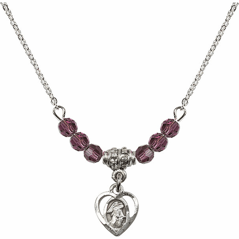 February Amethyst Guardian Angel Heart 6 Crystal Bead Necklace by Bliss Mfg
