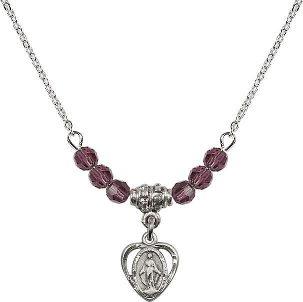 February Amethyst Miraculous Heart 6 Crystal Bead Necklace by Bliss Mfg