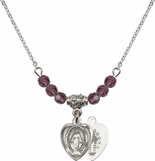 February Amethyst Miraculous Heart Shaped 6 Crystal Bead Necklace by Bliss Mfg
