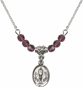 February Amethyst Oval Chalice Charm Crystal Bead Necklace by Bliss Mfg