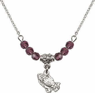 February Amethyst Praying Hands 6 Crystal Bead Necklace by Bliss Mfg