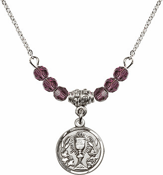 February Amethyst Round Chalice Charm Crystal Bead Necklace by Bliss Mfg