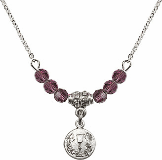 February Amethyst Round Chalice Crystal Bead Necklace by Bliss Mfg