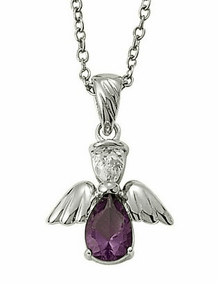 February Birthstone Angel Wing Sterling Silver Necklace