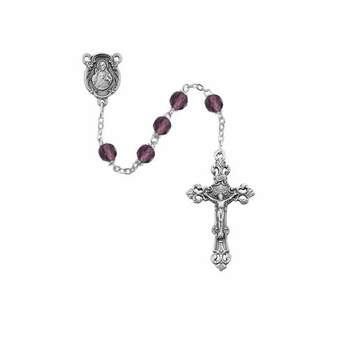 February Dark Amethyst Birthstone Crystal Prayer Rosary w/Sacred Heart by McVan