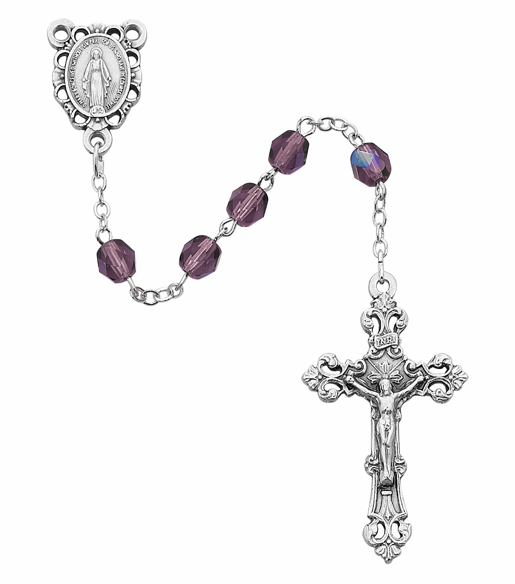 February Dark Amethyst Birthstone Crystal Sterling Silver Prayer Rosary by McVan