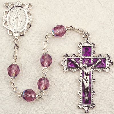 February Dark Amethyst Birthstone Prayer Rosary by McVan