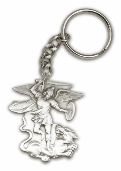 Figure St Michael the Archangel Antique Gold or Silver Keychain by Bliss