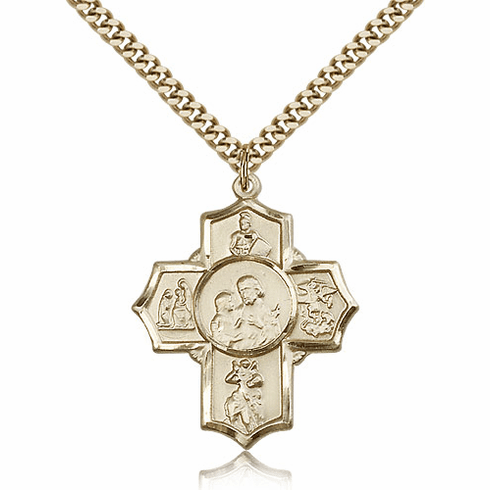 Firefighter 14kt Gold-Filled 5-Way Cross Medal Necklace by Bliss