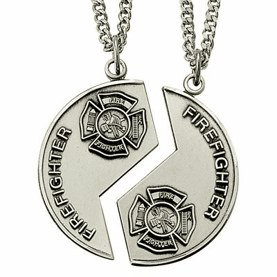 Singer His and Her's Firefighter Miz Pah Sterling Silver Medal Necklaces