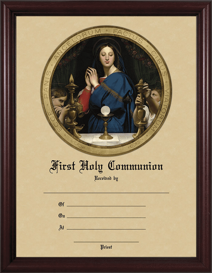 First Communion Certificate Madonna of the Host Cherry Wall Picture