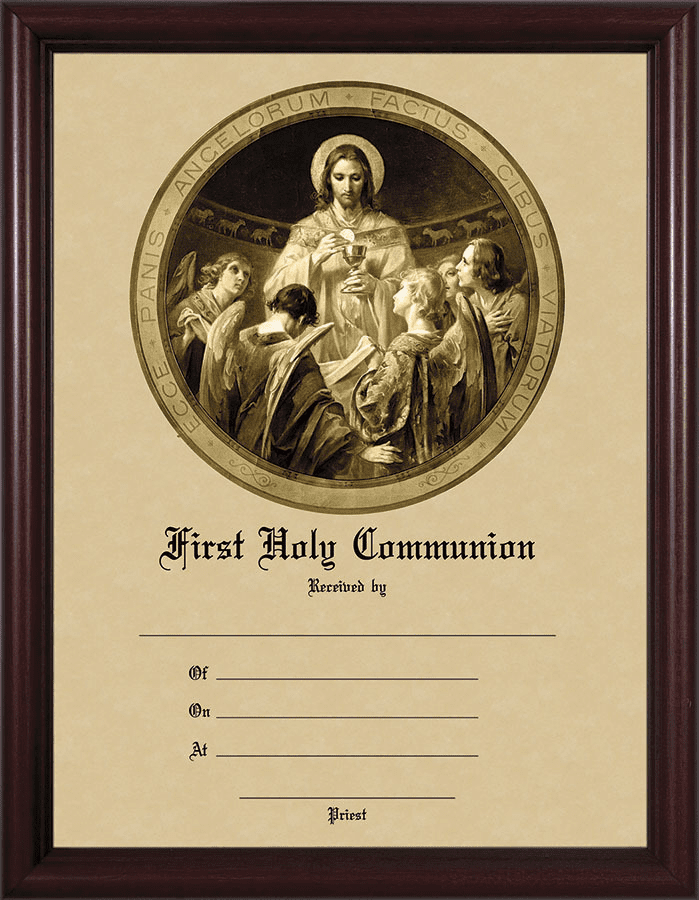 First Communion Certificate with Christ the Bread of Angels Cherry Wall Picture