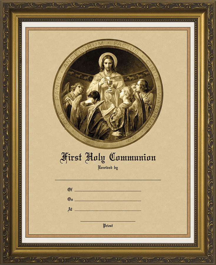 First Communion Certificate with Christ the Bread of Angels Gold Picture
