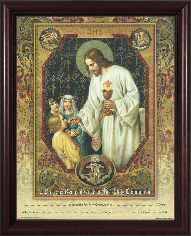 First Communion Christ the Living Bread Cherry Framed Certificate Wall Picture