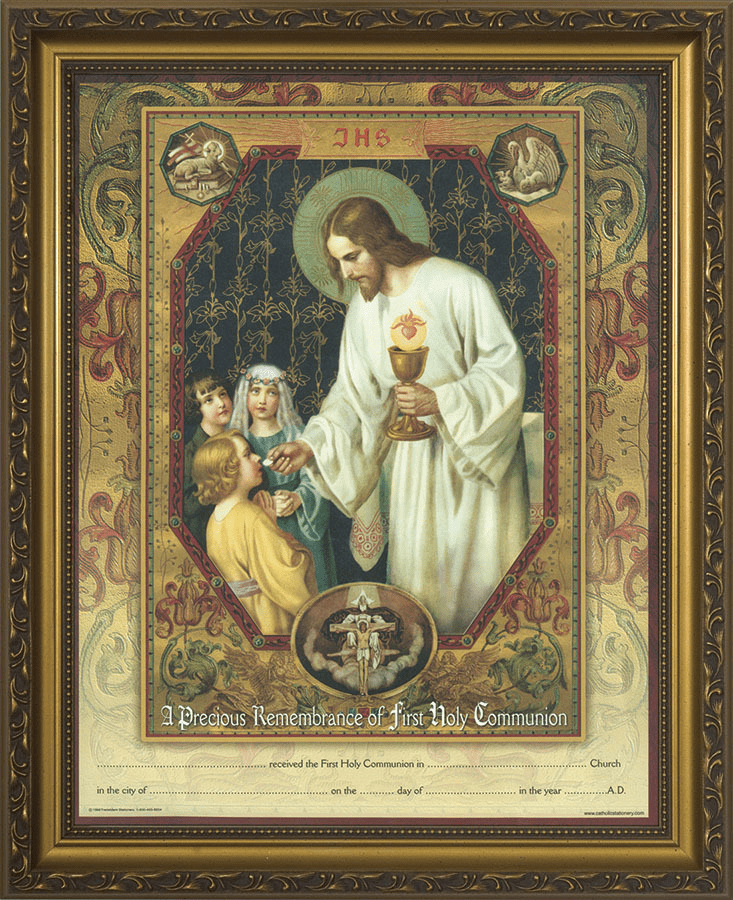 First Communion Christ the Living Bread Gold Framed Certificate Wall Picture
