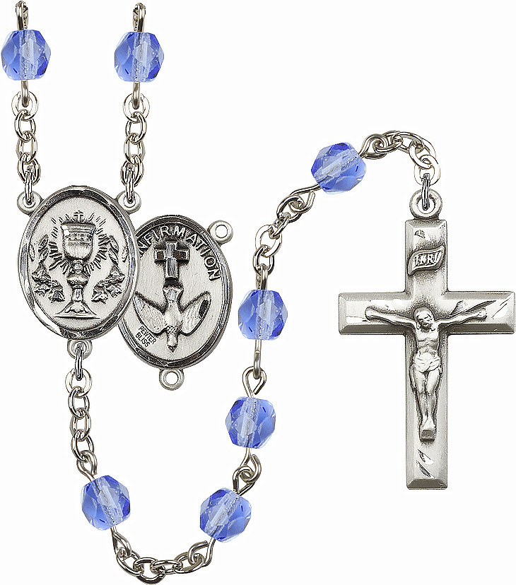 First Holy Communion Birthstone Silver-plated Rosary