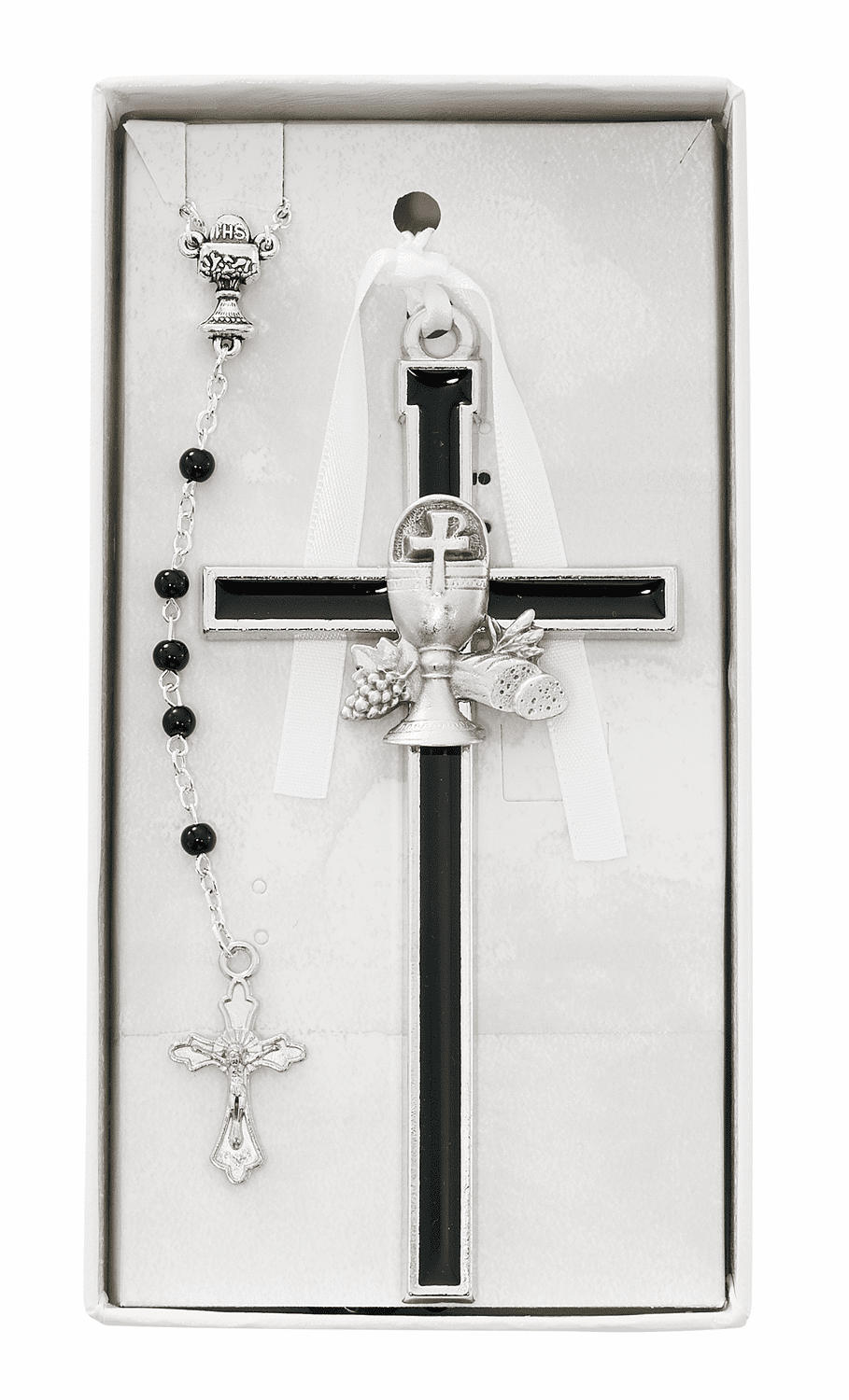 First Holy Communion Black Enameled Chalice Wall Cross and Rosary Set