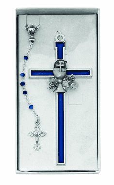 First Holy Communion Blue Enameled Crucifix Wall Cross and Rosary Set
