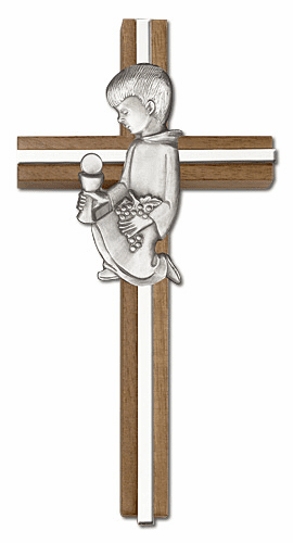 First Holy Communion Boy Inlay Walnut Wall Cross by Bliss