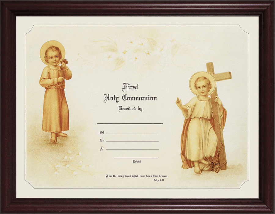 First Holy Communion Child's Certificate Cherry Wood Wall Picture