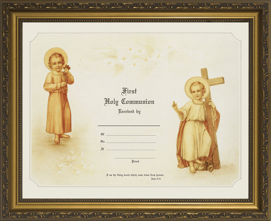 First Holy Communion Child's Certificate Gold Wall Picture