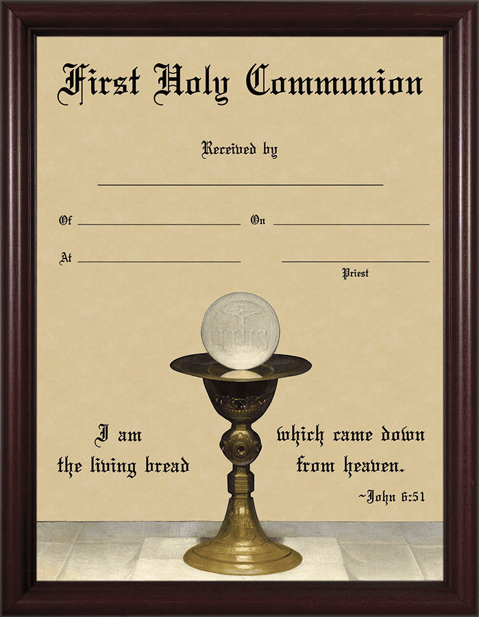 First Holy Communion Eucharist with Chalice Certificate Cherry Wall Picture