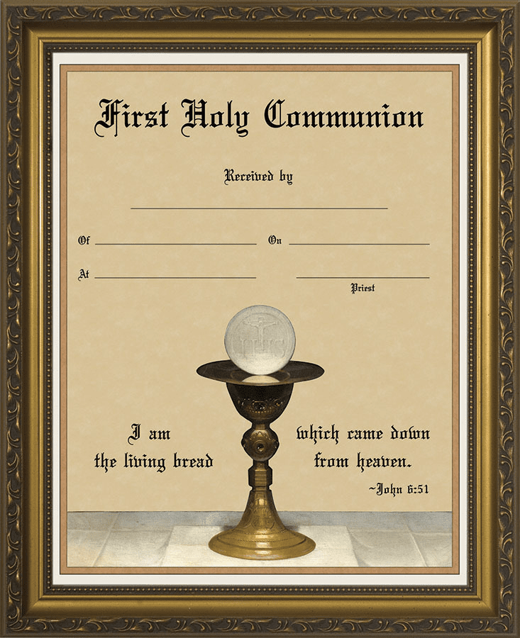 First Holy Communion Eucharist with Chalice Certificate Wall Picture