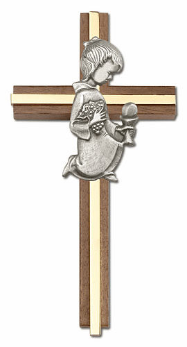 First Holy Communion Girl's Walnut Wall Cross by Bliss