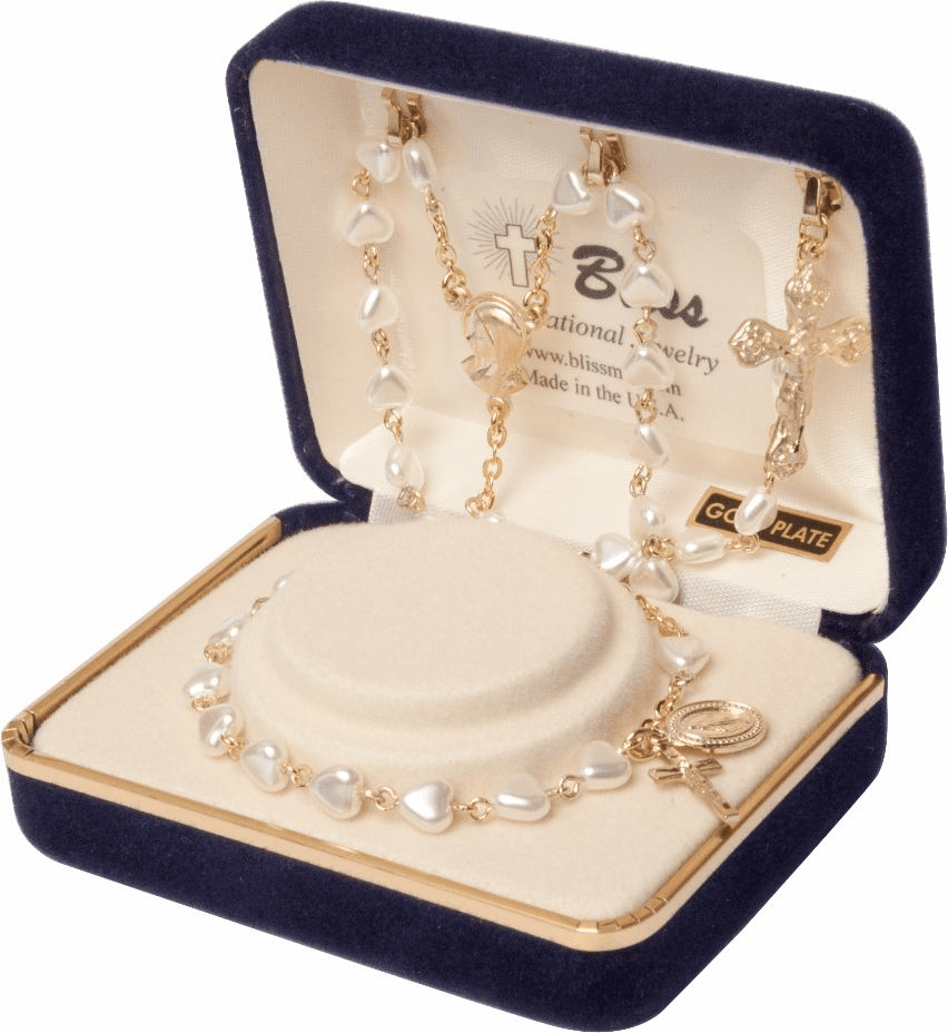 First Holy Communion Gold Pearl Heart-Shape Rosary and Bracelet Set