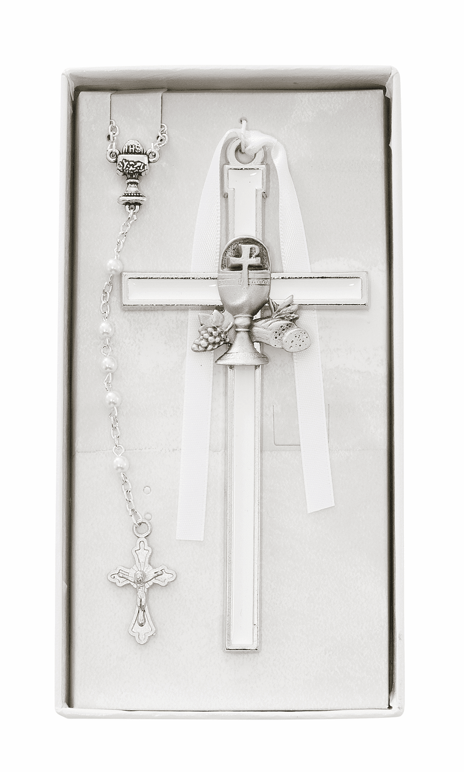 First Holy Communion White Enameled Chalice Wall Cross and Rosary Set