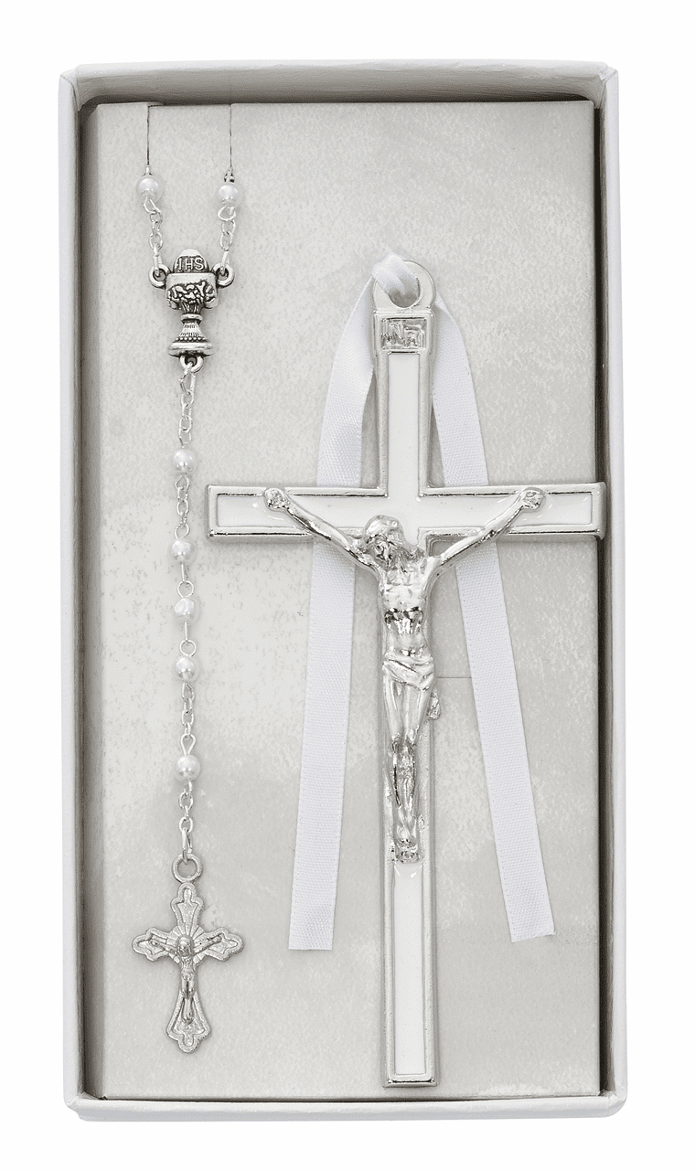 First Holy Communion White Enameled Crucifix Wall Cross and Rosary Set