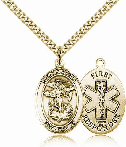 First Responders St Michael 14kt Gold-filled Pendant Necklace by Bliss Mfg