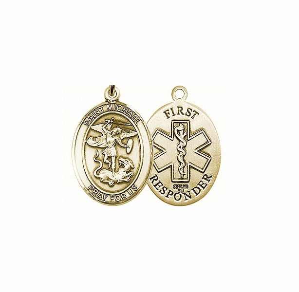 First Responders St Michael 14kt Yellow Gold Pendant Necklace by Bliss Mfg
