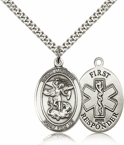 First Responders St Michael Sterling Silver Pendant Necklace by Bliss Mfg