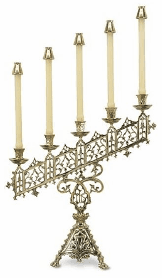 Five Branch Slanted IHS Church Candelabra