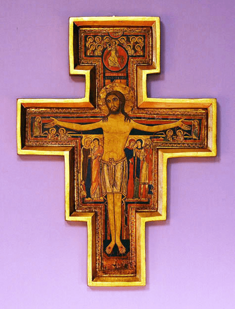 Florentine 17ins San Damian Cross with Raised Borders Wood Wall Plaque From Italy