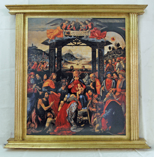 Florentine Adoration of the Magi Print by Ghirlandaio w/Gold-painted Wood Frame