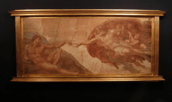 Florentine Creation of Man by Michelangelo Wood Wall Plaque From Italy