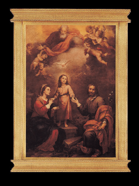 Florentine Holy Family with God the Father and Holy Spirit Wood Wall Plaque