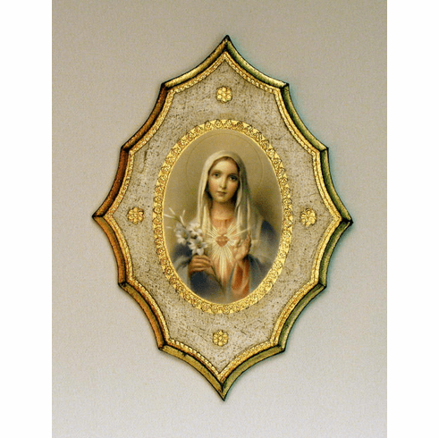 Florentine Immaculate Heart of Mary Print Wood Plaque
