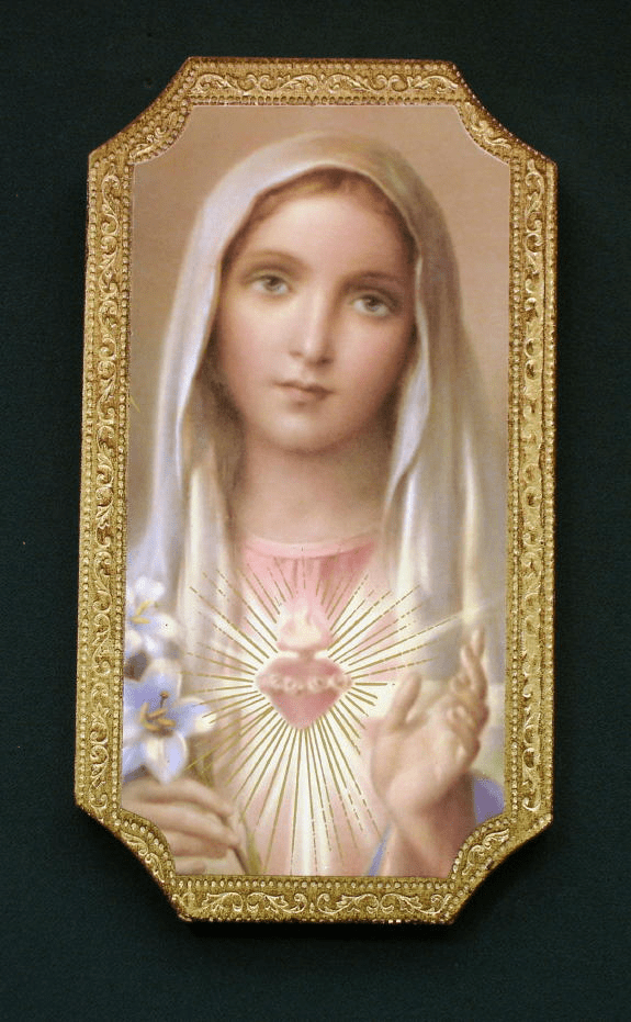 Florentine Immaculate Heart of Mary Wood Wall Plaque