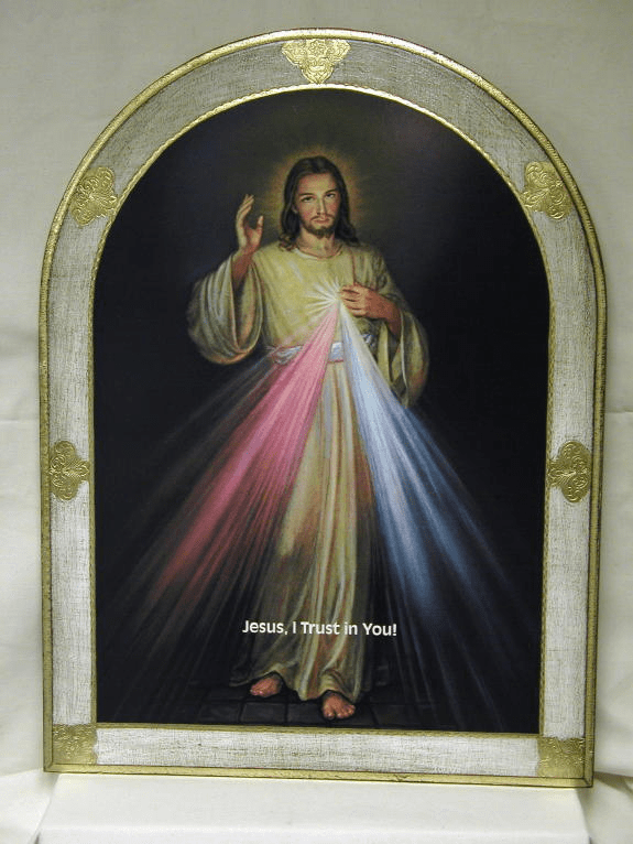 Florentine Jesus Divine Mercy Gold and White Border Wood Wall Plaque