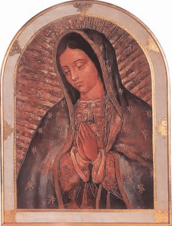 Florentine Our Lady of Guadalupe Print Gold and White Border Wood Wall Plaque