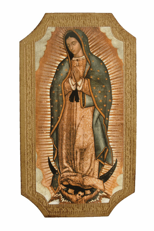 Florentine Our Lady of Guadalupe Wood Wall Plaque