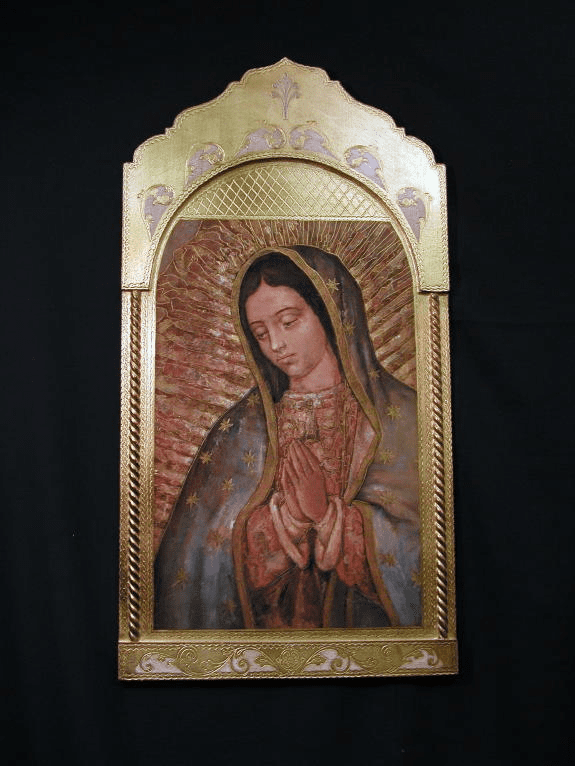 Florentine Our Lady of Guadalupe Wood Wall Plaque From Italy