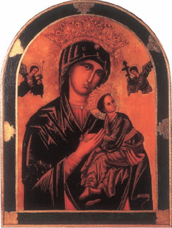 Florentine Our Lady of Perpetual Help Print Gold and Green Border Wood Wall Plaque