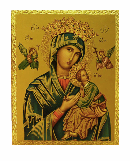 Florentine Our Lady of Perpetual Help Wood Wall Plaque From Italy
