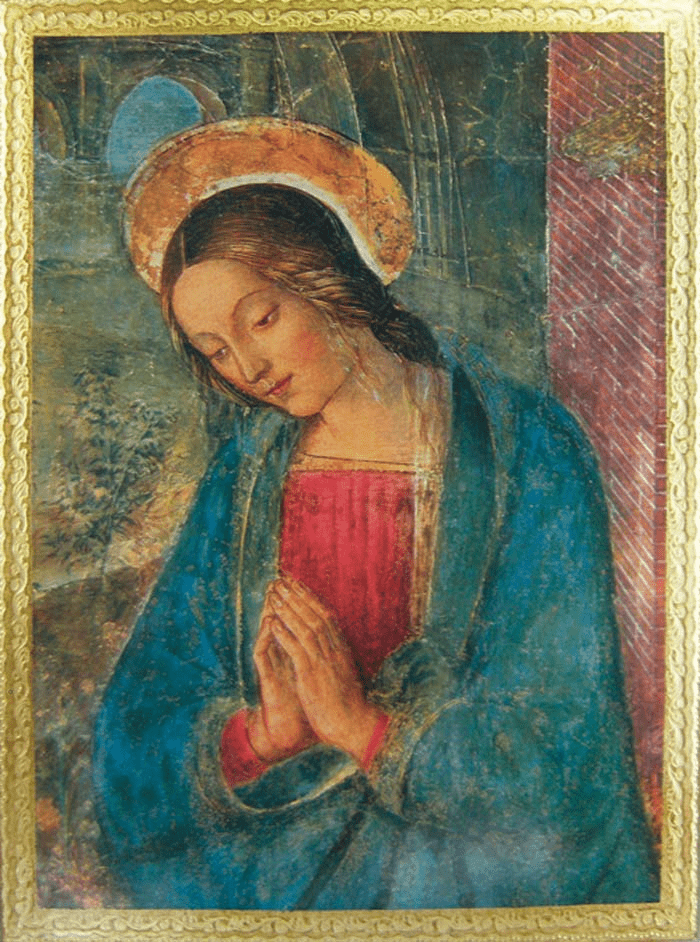 Florentine Praying Virgin by Pintoricchio Wood Wall Plaque From Italy
